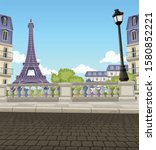 street of paris  with the... | Shutterstock .eps vector #1580852221