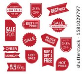 set of red tags. sale promotion ... | Shutterstock .eps vector #1581029797