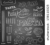 set of various pasta elements and chalk typography on a blackboard