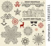 vector vintage holiday  design... | Shutterstock .eps vector #158110511