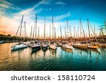 sea bay with yachts at sunset | Shutterstock . vector #158110724