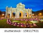 famous puerta de alcala  madrid ... | Shutterstock . vector #158117921