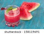 glass of fresh watermelon juice ... | Shutterstock . vector #158119691