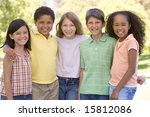 five young friends standing... | Shutterstock . vector #15812086