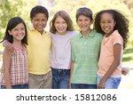 five young friends standing...   Shutterstock . vector #15812086