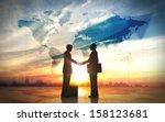 two business man shake hand... | Shutterstock . vector #158123681