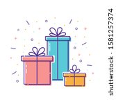 gift boxes with bows with...   Shutterstock .eps vector #1581257374