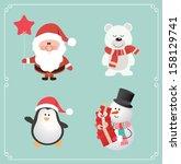 Set Of Cute Christmas Characte...