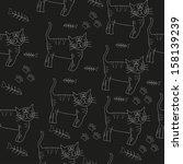 cats seamless pattern  ... | Shutterstock .eps vector #158139239