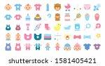 bundle of baby set icons vector ... | Shutterstock .eps vector #1581405421
