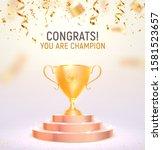 golden trophy cup on podium... | Shutterstock .eps vector #1581523657