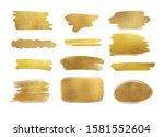 collection of golden paint... | Shutterstock . vector #1581552604