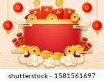 cny sign or 2020 chenese new... | Shutterstock . vector #1581561697