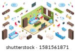 living room interior and...   Shutterstock . vector #1581561871