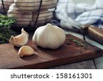 Fresh Garlic On Cutting Board...
