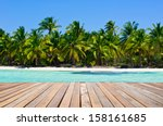 tropical beach with sea wave on ... | Shutterstock . vector #158161685