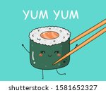 card with kawaii sushi.... | Shutterstock .eps vector #1581652327
