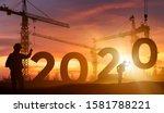 cranes building construction... | Shutterstock . vector #1581788221