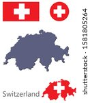 switzerland silhouette and flag ... | Shutterstock .eps vector #1581805264
