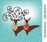 deer couple  | Shutterstock .eps vector #158182691