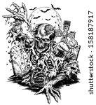 zombie comic style line art | Shutterstock .eps vector #158187917