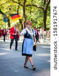 Small photo of New York City, NY - September 21, 2019: The 62nd German-American Steuben Parade brought out thousands of spectators wearing traditional German clothing on Fifth Avenue.