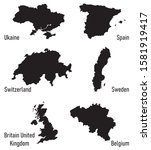 set silhouettes of europe... | Shutterstock .eps vector #1581919417