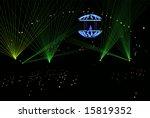 dj in laser beams vector