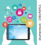 vector tablet mobile app... | Shutterstock .eps vector #158196911