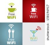 wifi cafe icon set | Shutterstock .eps vector #158196917