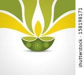 vector green style happy diwali ... | Shutterstock .eps vector #158198171