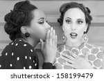 women gossip and secrets vintage | Shutterstock . vector #158199479