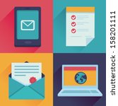 Vector communication icons in flat retro style - mail, message, contract, website addres