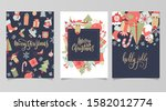 christmas and new year gift... | Shutterstock . vector #1582012774