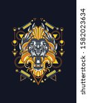 mythical lion with sacred... | Shutterstock .eps vector #1582023634