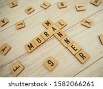 Small photo of Moral and manner words in wooden blocks