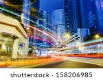 busy traffic in city at night | Shutterstock . vector #158206985