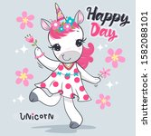 beautiful unicorn girl wearing... | Shutterstock .eps vector #1582088101
