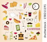 breakfast set icons | Shutterstock .eps vector #158211191