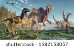 Spinosaurus And Deinonychus In...