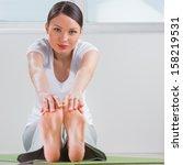 cute woman doing stretching... | Shutterstock . vector #158219531
