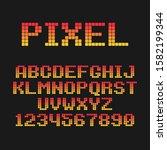 pixel flat font. font for pixel ... | Shutterstock .eps vector #1582199344