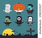 halloween characters icon set. | Shutterstock .eps vector #158222327