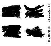 set of black brush stroke and...   Shutterstock .eps vector #1582232764