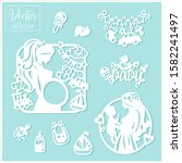 pregnancy and baby. baby shower....   Shutterstock .eps vector #1582241497