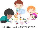 illustration of kids helping to ... | Shutterstock .eps vector #1582256287