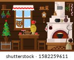 kitchen interior with russian... | Shutterstock .eps vector #1582259611