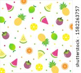 cute tropical fruits season ... | Shutterstock .eps vector #1582263757