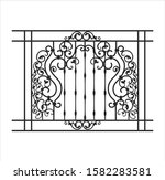 Architecture metal gate. Vintage fence with ornamental details. Wrought vector template on isolated background. Retro frame with swirl pattern for garden.