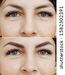 Small photo of Photo comparison before and after permanent makeup, tattooing of eyebrows for woman in beauty salon